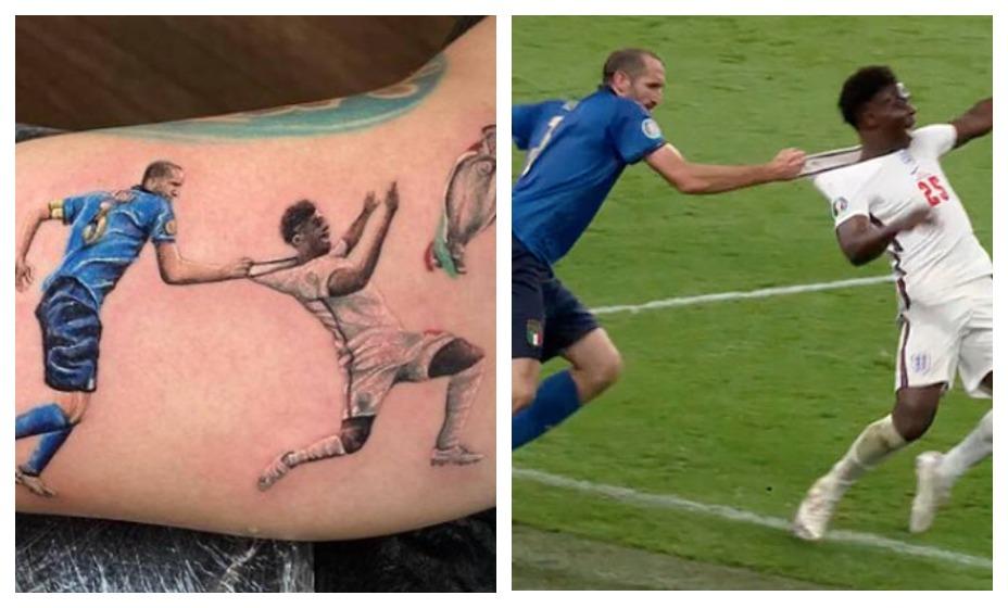 Противостояние Джорджо Кьеллини и Букайо Саки теперь останется на теле одного из болельщиков сборной Италии. Фото: Twitter
